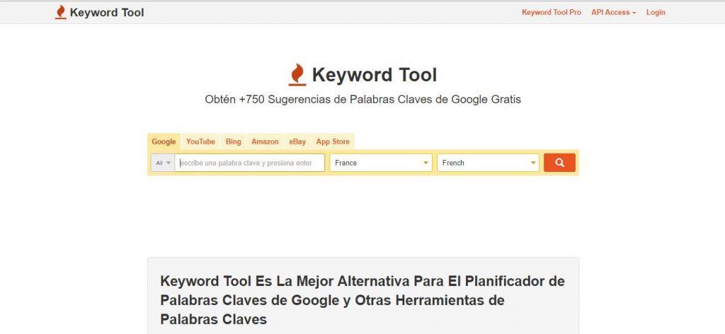 Keyword Tool herramienta búsqueda de palabras clave SEO