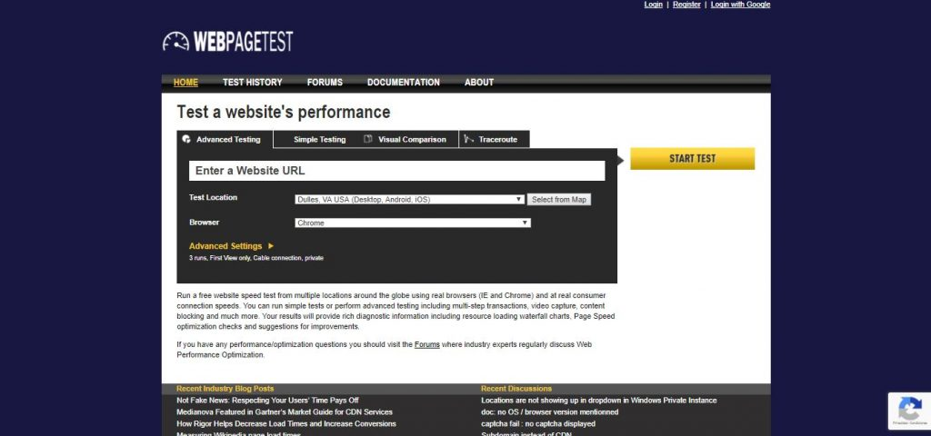 webpagetest herramienta seo
